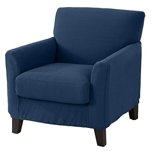 Great Bay Home 2 Piece Spandex Fabric Slipcover. Form Fit, Stretch Furniture Cover/Protector, Stays in Place. Analise Collection (Chair, Dark ()