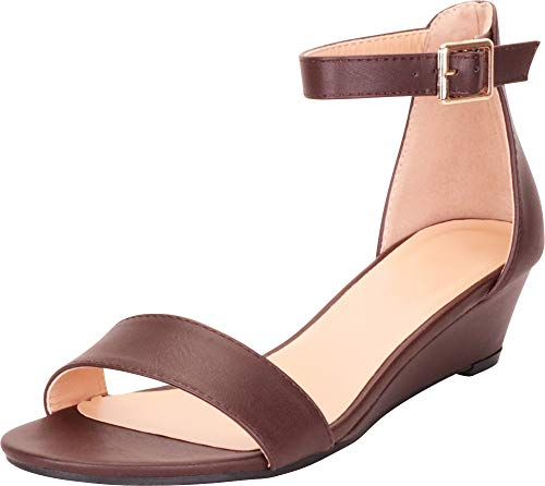 Cambridge Select Women's Open Toe Single Band Ankle Strap Low Wedge Sandal,10 M US,Chocolate Pu