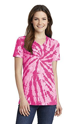Port & Company Women's Essential Tie-Dye V-Neck Tee LPC147V Pink XL