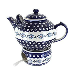 Blue Rose Polish Pottery Blue Violet Large Teapot & Warmer