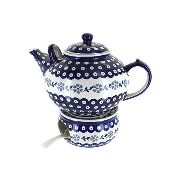 Blue Rose Polish Pottery Blue Violet Large Teapot & Warmer