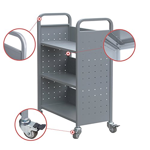 Rolling Library Book Cart Single Sided Flat Shelves with Lockable Wheels,200lbs Capacity (Grey) by Alice (Image #2)