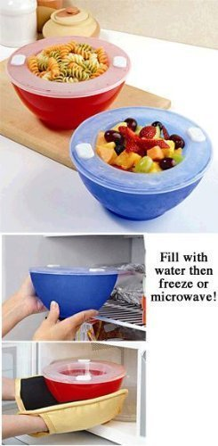 Dishwasher Safe Hot 'N Cold Bowls - Set of 2 - Keep Food Warm or Cool for Dinners, Parties, Buffets. ()