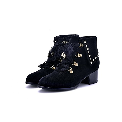 Allhqfashion Women's Frosted Lace-up Round Closed Toe Kitten Heels Low Top Boots Black X1bC1gpzA