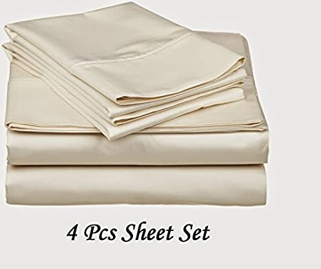 Deep Pocket 4 PC Sheet Set 1000 TC Scala Egyptian Cotton US Sizes Ivory Color.