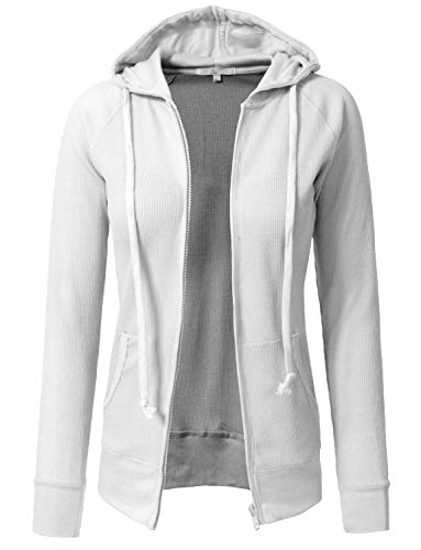 J. LOVNY Women Casual Lightweight Basic Long Sleeve Thermal Hoodie Jackets (Best J.tomson White Blouses)