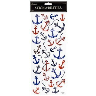 Red & Blue Anchor Foiled - Anchor Stickers