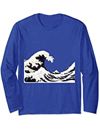 Great Wave off Kanagawa Mt Fuji Scene by Hokusai Long Sleeve