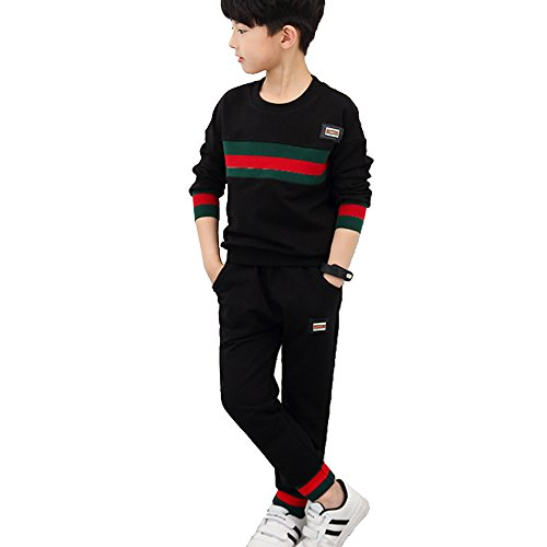 (OnlyAngel Kids Boys Athletic Sweatsuits Striped Printed Crew Neck Top and Elastic Waist Pant Size 4-12 (4-5 Years))