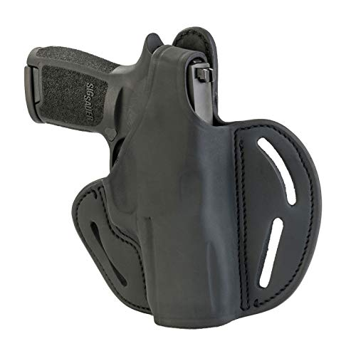 - 1791 GUNLEATHER Sig P320c Thumb Break Holster - Right Handed OWB Leather Gun Holster - Fits HK 45c, P2000, USPc, VP9sk, VP, Tactical, Sig M11-A1, P229, P229c, P320c, FN509, Springfield XDMc - Black