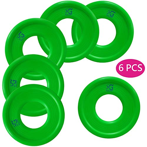 Macro Giant 9 Inch Soft Foam Frisbee Flying Discs, Set of 6, Neon Green, Ring Toss Game, Camp Game, Parenting Activity, Kid Toy Gift, Business Stuff