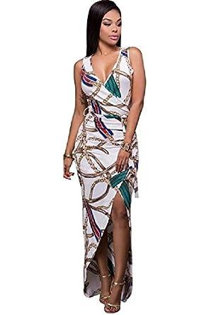 acc34e74db Ausom 2017 Womens Lastest Hot Summer Elegance V Neck Sleeveless Bandage  Floral Print Kick Pleat Formal Attire Dress at Amazon Women's Clothing  store: