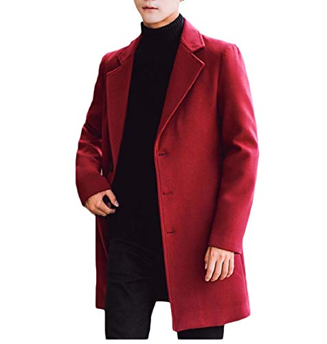 YUNY Men's Outwear Topcoat Trench Wool Blend Fashion Peacoat Wine red 4XL
