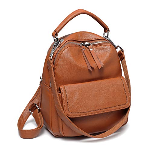 Front Flap Large - Mini Backpack Purse,ChaseChic Cute Flap Front Pocket Convertible Women Backpack Shoulder Bag for Women,Teen Girls Brown
