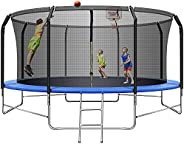 TRIPLE TREE Trampoline for Kids Outdoor with Safety Enclosure Net, Round Waterproof Trampoline Jumping Mat, He