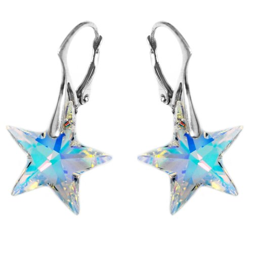 Sterling Silver Aurora Borealis Leverback Star Earrings Made with Swarovski Crystals - Crystal Star Drop