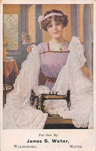 Waldoboro Maine New Home Sewing Machine Advertising Vintage Postcard JC932176