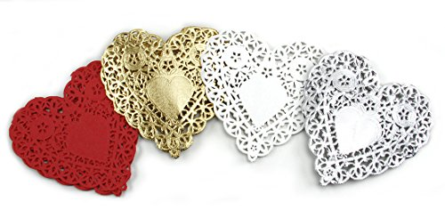 """Hygloss Products 100 Pieces Heart Doilies - Foil Tabletop Decorations for Wedding, Party & Birthday - White, Red, Gold, and Silver, 4"""", 100 Pack from Hygloss"""