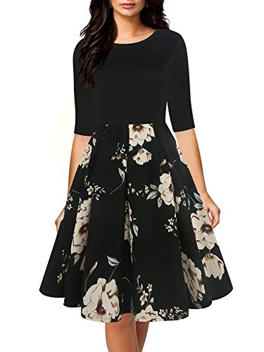 oxiuly Women's Vintage Elegant Half Sleeve Scoope Neck Contrast Casual Work Party Swing Dress with Pockets OX253 (S, - Elegant Half Sleeve