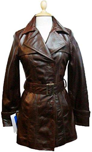 UNICORN Mujeres Tres cuartos de cuerpo entero Gabardina real cuero chaqueta - Marrón #W1