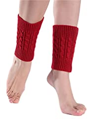 YACUN Women's Winter Cold Weather Solid Knit Leg Warmers Boot Covers Red F