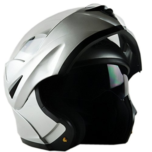 ILM 10 Colors Motorcycle Flip up Modular Helmet DOT (M, Silver)