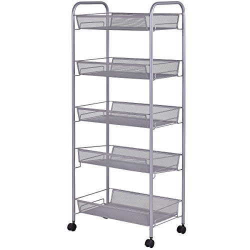 Giantex Storage Rack Trolley Cart Home Kitchen Organizer Utility Baskets (5 Tier, Silver)