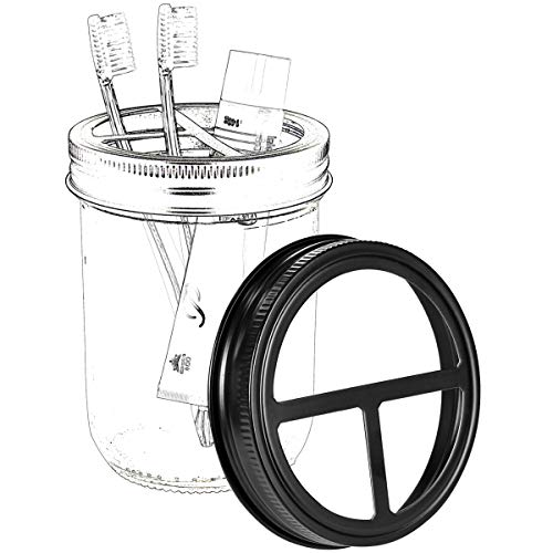Mason Jar Toothbrush Holder Lid - Made from Premium Rustproof 304 Stainless Steel - for Ball Mason Jar or Any Wide Mouth Jar/Black (Jars not Included)
