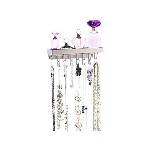 Satin Pierced Earrings - Necklace Holder Wall Mount Jewelry Organizer Hanging Closet Storage Rack with Shelf, Fiona Satin Nickel Silver