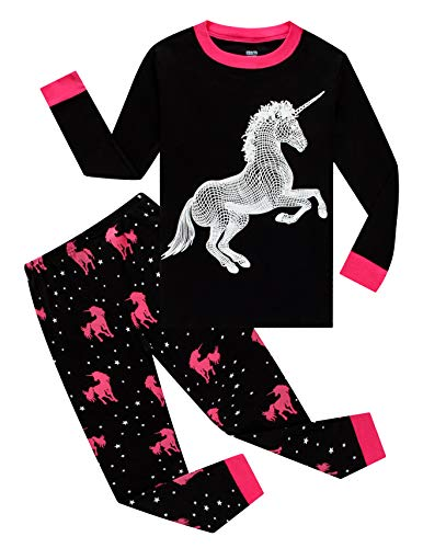 Glow in The Dark Unicorn Big Girls Pajamas for Kids 100% Cotton Pjs Size 10 -