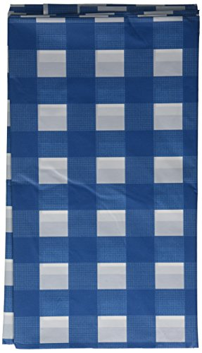 Navy Blue gingham plastic table cover
