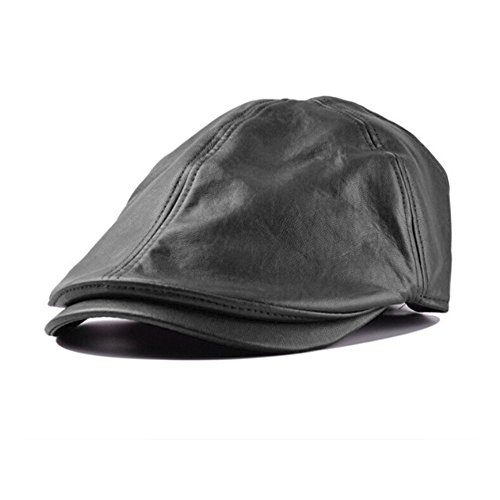 New Year's Gift, IKevan_Hat Mens Women Vintage Leather Beret Cap Peaked Hat Newsboy Sunscreen (Black)