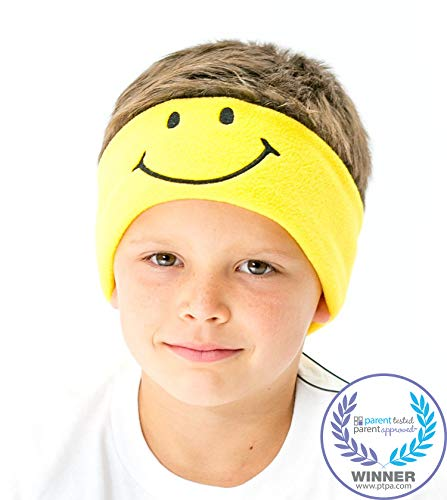CozyPhones Kids Headphones Volume Limited with Ultra-Thin Speakers Soft Fleece Headband - Perfect Childrens Earphones for Home and Travel - Yellow Smile