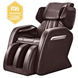 OOTORI Full Body Massage Chair, Zero Gravity Neck, Back, Legs, and Foot Shiatsu Massager with Heat and Foot Rollers (brown)