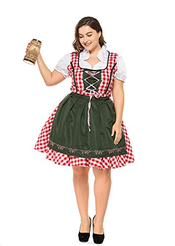 Taopleker Women German Dirndl Dress, Plus Size Serving Beer Girl Oktoberfest Costumes S-XXXL (XXXL) -