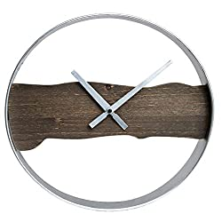 15 Raw Edged Wood and Metal Wall Clock