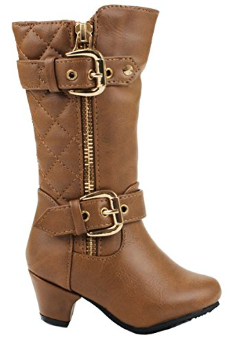 JJF Shoes Baby Girls Tan Dual Buckle/Zip Quilted Back Mid Calf Motorcycle Toddler/Infant Winter ()