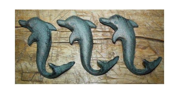 6 Cast Iron Antique Style DOLPHIN Coat Hooks Hook Rack Towel Nautical Beach
