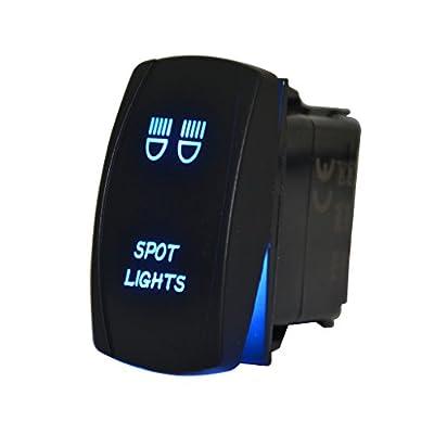 MICTUNING MIC-LSS1 5Pin Laser Spot Lights Rocker Switch On-Off LED Light 20A 12V, Blue