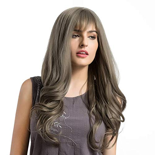 Synthetic Lace Wig for Women - Natural Looking Long Wavy Right Side Parting Heat Resistant Replacement Brown&Grey Wig Full Machine Made 26 Inch(Lighter Brown)