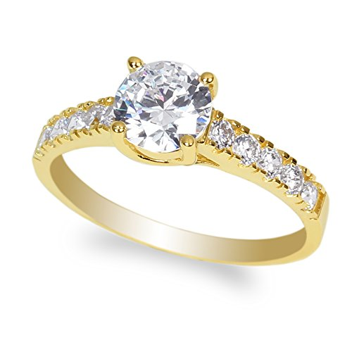 JamesJenny 10K Yellow Gold 0.9ct Round Clear CZ Beautiful Solitaire Ring Size 4.5 ()