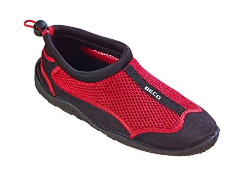 BECO Badeschuhe Surfschuhe Wattschuhe Strandschuhe Aqua Schuhe für Damen und Herren *Neue Kollektion (schwarz/rot, 46)