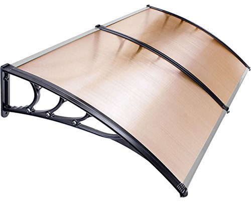 Earthquake Sound PB1024HB Window/Patio Awning with Plastic Frames and Hollow Polycarbonate Panels (Black/Brown) by Earthquake Sound