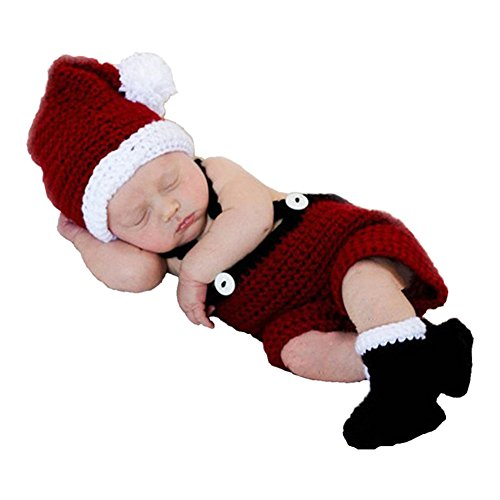SUNBABY Newborn Baby Christmas Santa Knitted Crochet Photography Prop Costume Outfits (Rompers) -