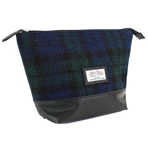 Ladies or Gents Traditional Harris Tweed Lined Wool Toiletries Wash Bag Choice of Colours Gift Boxed (Black Watch)