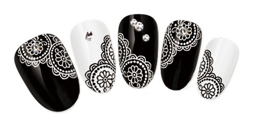 Premium Quality Professional Nail Art Salon Card of 20pcs Stickers / Decals Decorations With Laced Style Flowers Designs / Patterns In Black And White Colors By VAGA