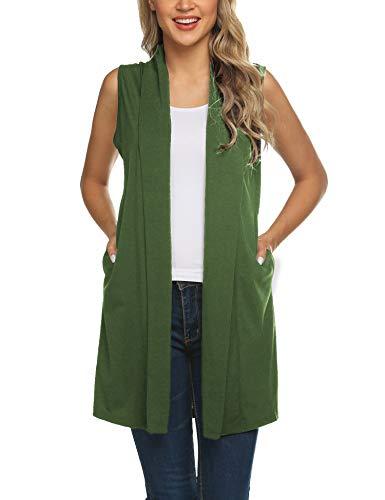 (Beyove Women's Sleeveless Shawl Draped Open Front Cardigan Long Vest Top Olive Green M)