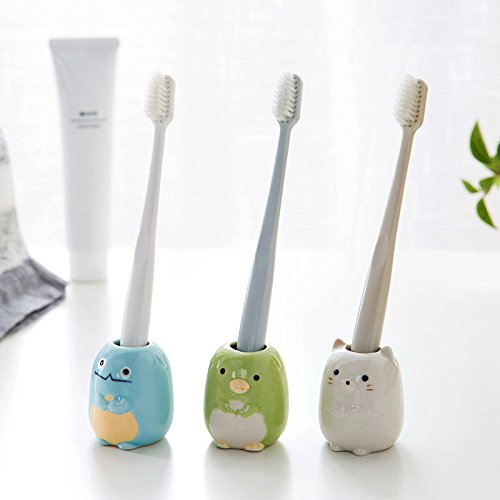 AUCH Set of 3 Mini Toothbrush Holder/ Ceramic Tooth Brush Stand/ Bathroom Storage Organizer by Auch