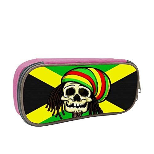 SsSEYYA Jamaica Flag Skull Pencil Bag Makeup Pen Pencil Case Big Capacity Pouch Durable Students Stationery with Double Zipper Pen Holder for School/Office (Sonnenbrille, Make-up)