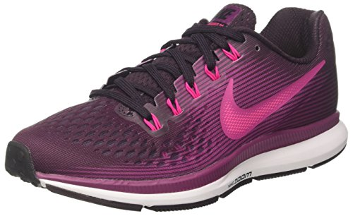 Nike Women's Air Zoom Pegasus 34 Running Shoe Port Wine/Deadly Pink-Tea  Berry-Black 8.5
